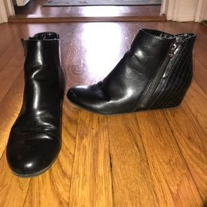 Black Wedge Ankle Booties, Women's size 7.5